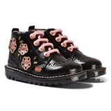 Kickers Black Leather Flower Applique Boots