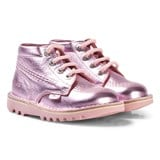Kickers Pink Metallic Leather Kick Hi Boots
