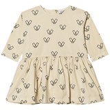 Wynken Beige Monster Print Cotton Gathered Dress