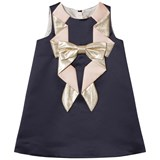 Hucklebones Navy and Gold Origami Bow Shift Dress
