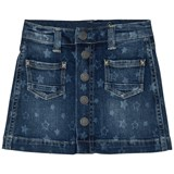 Pepe Jeans Blue Mid Wash Star Print Button Skirt