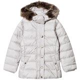 Barbour White Long Line Puffer Coat