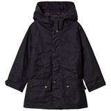 Barbour Navy Waxed Trail Hooded Jacket with Fleece Lining