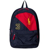 Ralph Lauren Navy and Red Banner Logo Backpack