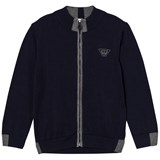 Armani Junior Navy and Grey Knit Zip Cardigan