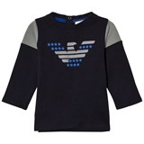 Armani Junior Navy and Grey Eagle Tee