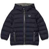 Armani Junior Navy Down Hooded Puffer Coat with Logo
