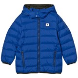 Armani Junior Blue Hooded Puffer Coat with Logo