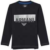Armani Junior Navy Branded Long-Sleeved Tee
