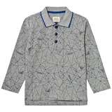 Armani Junior Grey All Over Logo Graphic Long Sleeve Pique Polo