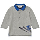 Armani Junior Grey Marl and Electric Blue Logo Polo