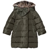 Il Gufo Green Long Line Coat with Faux Fur Hood
