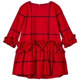 Il Gufo Red Frill Sleeve and Skirt Check Dress