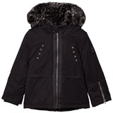 IKKS Black Short Parka with Leopard Faux Fur Hood