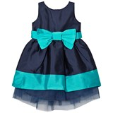 Holly Hastie Navy and KingFisher Florence Front Bow Taffeta Dress