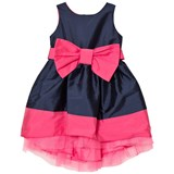 Holly Hastie Florence Navy and Bright Pink Front Bow Taffeta Dress