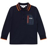 BOSS Navy and Orange Long-Sleeved Polo