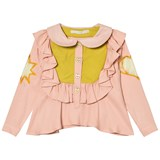 RaspberryPlum Light Pink and Yellow Embroidery Detail Blouse