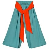 RaspberryPlum Green Culottes with Orange Belt