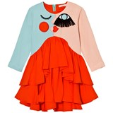 RaspberryPlum Orange Embroidered Face Frill Dress