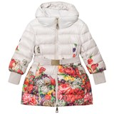 Monnalisa Beige and Floral Long Line Hooded Puffer Coat