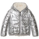Monnalisa Silver Reversible into Cream Faux Fur Hooded Coat