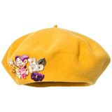 Monnalisa Yellow Felt Beret with Floral Applique