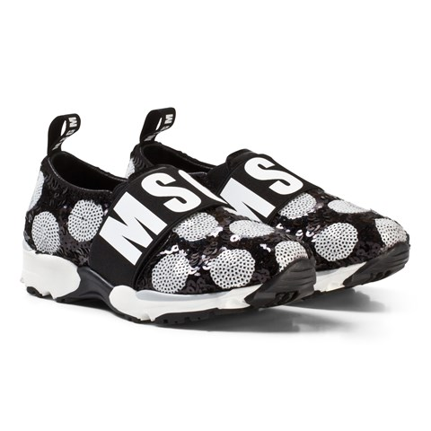 MSGM Black and White Logo Sequin Trainers