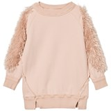 Andorine Pink Faux Fur Sleeve Sweat Dress