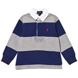 Ralph Lauren Navy and Grey Stripe Long-Sleeved Rugby Top