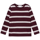 Burberry Burgundy and Grey Striped Graham Tee