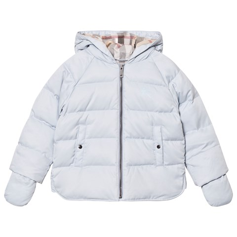 Burberry Pale Blue Hooded Puffer Jacket