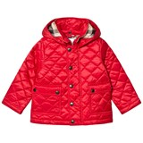 Burberry Red Jamie Quilted Hooded Jacket