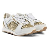 Michael Kors White and Gold Glitter Zia Trainers
