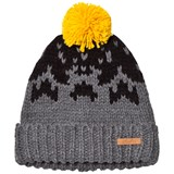 Barts Dark Grey Yellow Pom Pom Baigh Beanie
