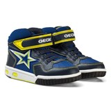 Geox Navy and Lime Jr Gregg Light Up Hi Top Trainers