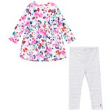 Joules Floral Jersey Dress and Stripe Leggings Set