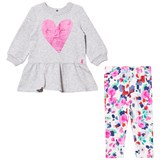 Joules Grey Marl Glitter Heart Print Dress with Floral Leggings Set
