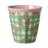 RICE A/S Melamine Medium Cup Two Tone with Vichy Print