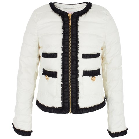 Juicy Couture Off-White Frill Puffa Coat