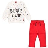 Joules Cream Bear Cub Print Sweatshirt and Red Bottoms Set
