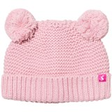 Joules Pink Knit Hat with Pom Poms