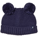 Joules Navy Knit Hat with Pom Poms