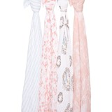 Aden + Anais Pack of 4 Pink, White and Blue Birdsong Swaddles