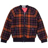 Sonia Rykiel Orange and Navy Tartan Reversible into Pink Bomber with Zip Pocket