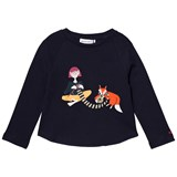 Sonia Rykiel Navy Knitting Fox Embroidered Tee