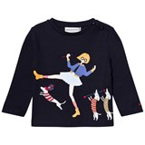 Sonia Rykiel Navy Twirling Girl and Embroidered Dog Long Sleeve Tee
