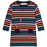 Sonia Rykiel Pink, Green and Navy Stripe Jersey Dress with Mushroom Embroidery