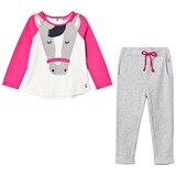 Joules Pink and Cream Horse Applique Tee and Trousers Set