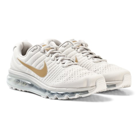 Nike White and Gold Nike Air Max Junior Trainer